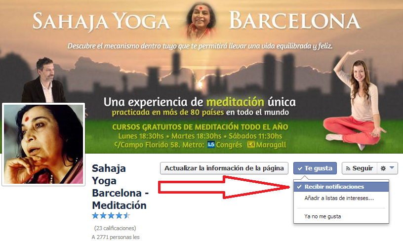 Recibir Notificaciones en Sahaja Yoga Barcelona